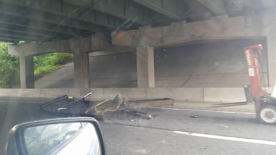 Bridge Damaged When Truck Carrying Fork Lift Slams Into It