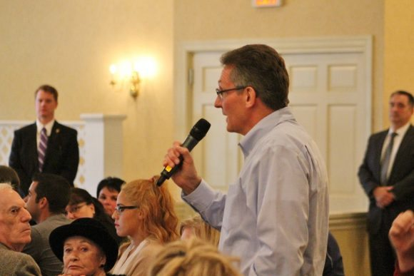 A man asks a question of Ivanka Trump. Credit: Tom Sofield/LevittownNow.com